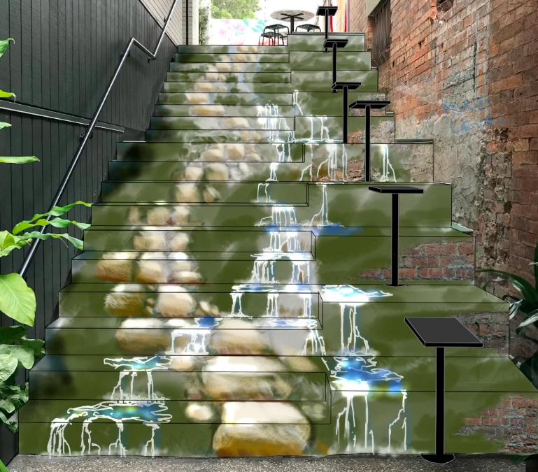The Trompe Stairway Mural